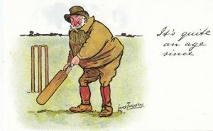 Lance Thackeray Its Quite An Age Since 1970s Cricket Comic Humour Postcard