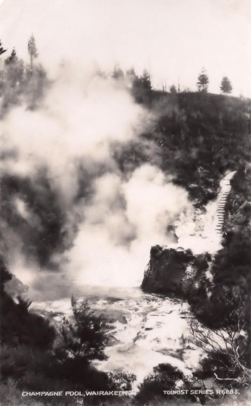 Champagne Pool Wairakei New Zealand Old Real Photo Postcard