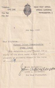 Manchester Spring Gardens Post Office 1948 Receipt