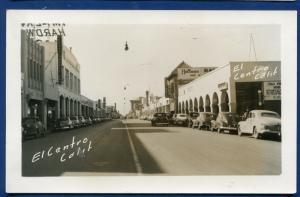 EL Centro California ca street scene cars autos real photo postcard RPPC #2
