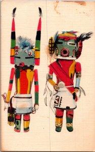 Hopi Tribe AZ Kachina ritual dolls Museum American Indian vtg postcard
