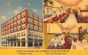 Muskogee Oklahoma Hotel Baltimore Multiview Linen Antique Postcard K21922