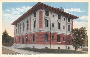 Jonesboro Arkansas~Post Office~US Federal Court House~1920s Postcard