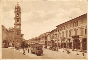 Vintage 1935 Italy Postcard, Piazza Umberto, Faenza, Vintage Cars, Bus GF9