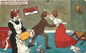 C-1910 Couple playing Diabolo  Comic Humor Tuck Postcard Oilette 3340