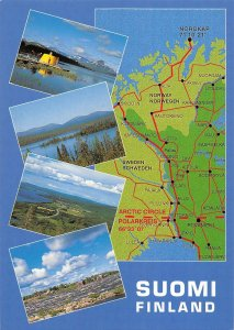 B109138 Suomi Finland Short cut to North Cape Map Lake Panorama Lac