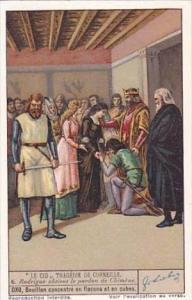 Liebig Vintage Trade Card S1337 El Cid 1936 No 6 Rodrigue obtient le pardon d...