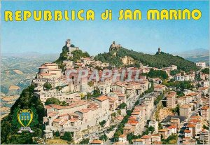Postcard Modern Republica di S. Marino Three Towers and Panorama