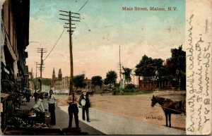 Malone New York~Main Street~Sidewalk Clerk Fruit Sales~Bananas~Monument~1910