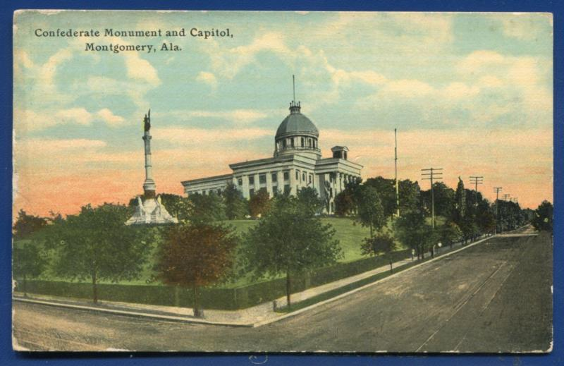 Confederate Monument Montgomery and Capitol Alabama al postcard