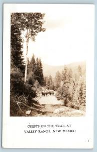 Postcard NM Valley Ranch Guests On The Trail Horseback RPPC Real Photo H26