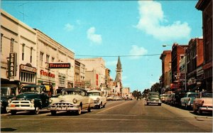 1960 POSTCARD DOWN TOWN,PATTERSON ST VALDOSTA GA,STORE FRONTS, CARS