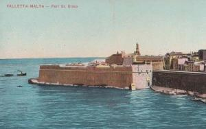 Malta Fort Saint St Elmo Military Ship Sea Base Antique Postcard
