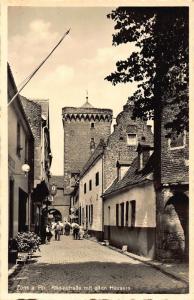 Zons am Rhein Strasse mit alten Hausern Street Postcard