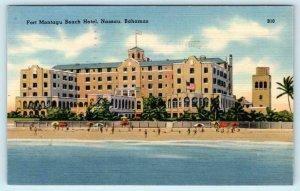 NASSAU, Bahamas ~ FORT MONTAGU BEACH HOTEL 1947 Linen  Roadside Postcard