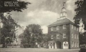 New Castle DE Market Place Town Hall Fire Station Old Postcard