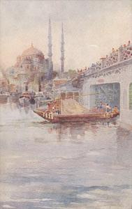 Turkey Constantinople Jeni-Djami and Galata Bridge