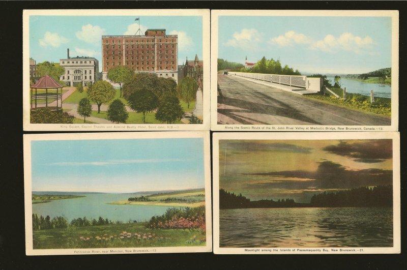 New Brunswick Canada 4 Vintage Tourist Bureau New Brunswick Postcards