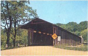 Covered Bridge at Harpersfield Ohio, OH, Pre-zip Code Chrome