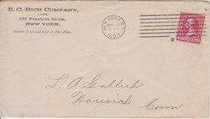 NEW YORK CITY - E C RICH COMPANY 1893 COVER - Pharmaceutical / Closed 1894