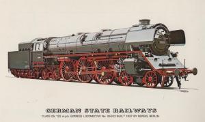 German State Railways Borsig Berlin Express Class 05 Locomotive Train Postcard