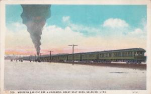 SALDURO , Utah , 00-10s ; Western PacificTrain crossing Great Salt Beds