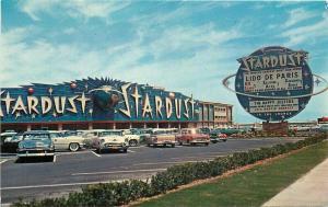 Autos Las Vegas Nevada Stardust Hotel Postcard Western Resort marquee 3465