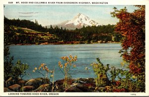 Washington Mt Hood and Columbia River From Evergreen Highway 1939 Curteich
