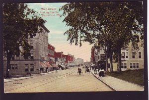 P1526 1914 used postcard horse wagons stores main street scene waterville maine