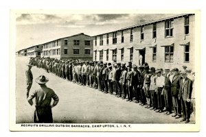 NY - Long Island. Camp Upton, Recruits Outside Barracks