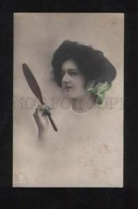 057893 Tinted BELLE Lady w/ MIRROR old PHOTO