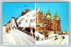 Quebec Canada, Sledding At Dufferin Terrace In Winter, Chrome Postcard