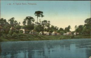 A Typical Bario - Philippines - Thatch Roof Homes c1910 Postcard