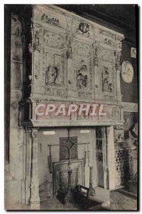 Old Postcard Troyes Fireplace