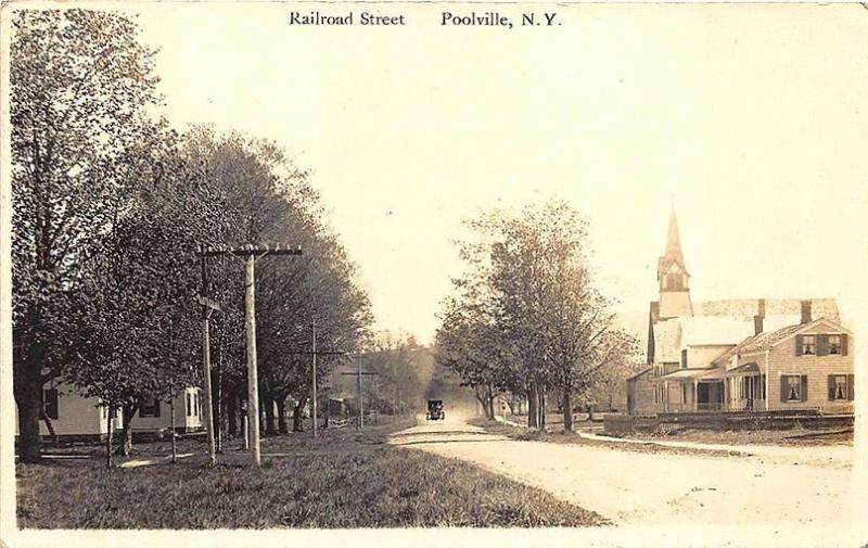 Poolville NY Railroad Dirt Street Old Car in 1911 RPPC Postcard