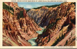 Yellowstone National Park Grand Canyon From Brink Of Lower Falls Curteich