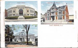 East Orange NJ~Library~Riding Driving Club~Municipal Building~1907 Postcard