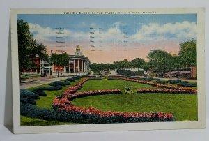 Vintage Postcard Sunken Gardens The Paseo Kansas City MO 1941 Linen Reese Mich
