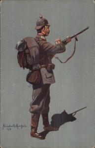 German Military Soldier/Officer in Uniform Aluschwitz Kurettski 1915 WWI PC #2
