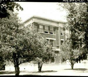 Vtg Postcard RPPC 1940s Medford Oklahoma OK Grant County Court House Unused