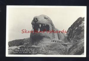 RPPC JACUMBA CALIFORNIA THE MONSTER AT DESERT BOULDER PARK OLD POSTCARD