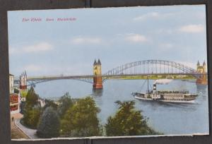 Rhein River View Of Bonn With River Cruise Ships & Bridge - Unused - Edge Wear