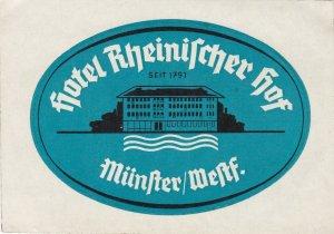 Germany Muenster Hotel Rheinischer Hof Vintage Luggage Label sk3277