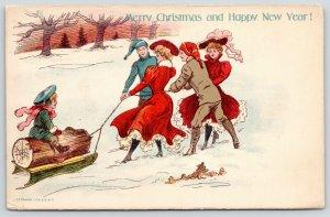 Christmas~Victorian College Students Pull Home the Yule Log~J Ottmann~1905 PC