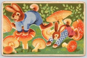 Artist~Dressed Rabbits at Play~Red/White Polka Dot Mushrooms~Leapfrog c1915