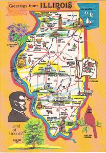 Greetings From Illinois Land Of Lincoln With Map