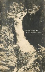 Mellen Wisconsin~Tyler Forks Falls~Wild Tembered Country~1914 Postcard RPPC