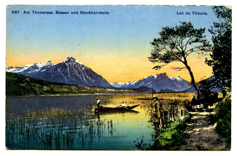 Switzerland - Lac de Thoune. Thunersee, Niesen & Stockhorn Kette