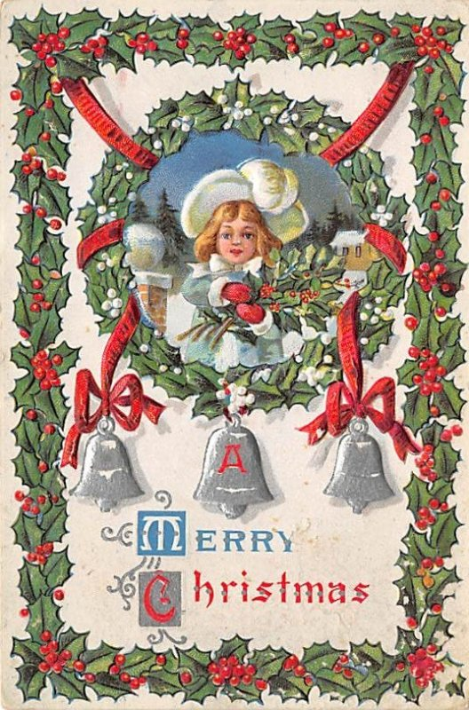 Christmas Post Card Old Xmas Postcard Postal used unknown