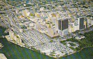 Florida Miami Aerial View Across Miami River Towards DuPont Plaza and Biscayn...